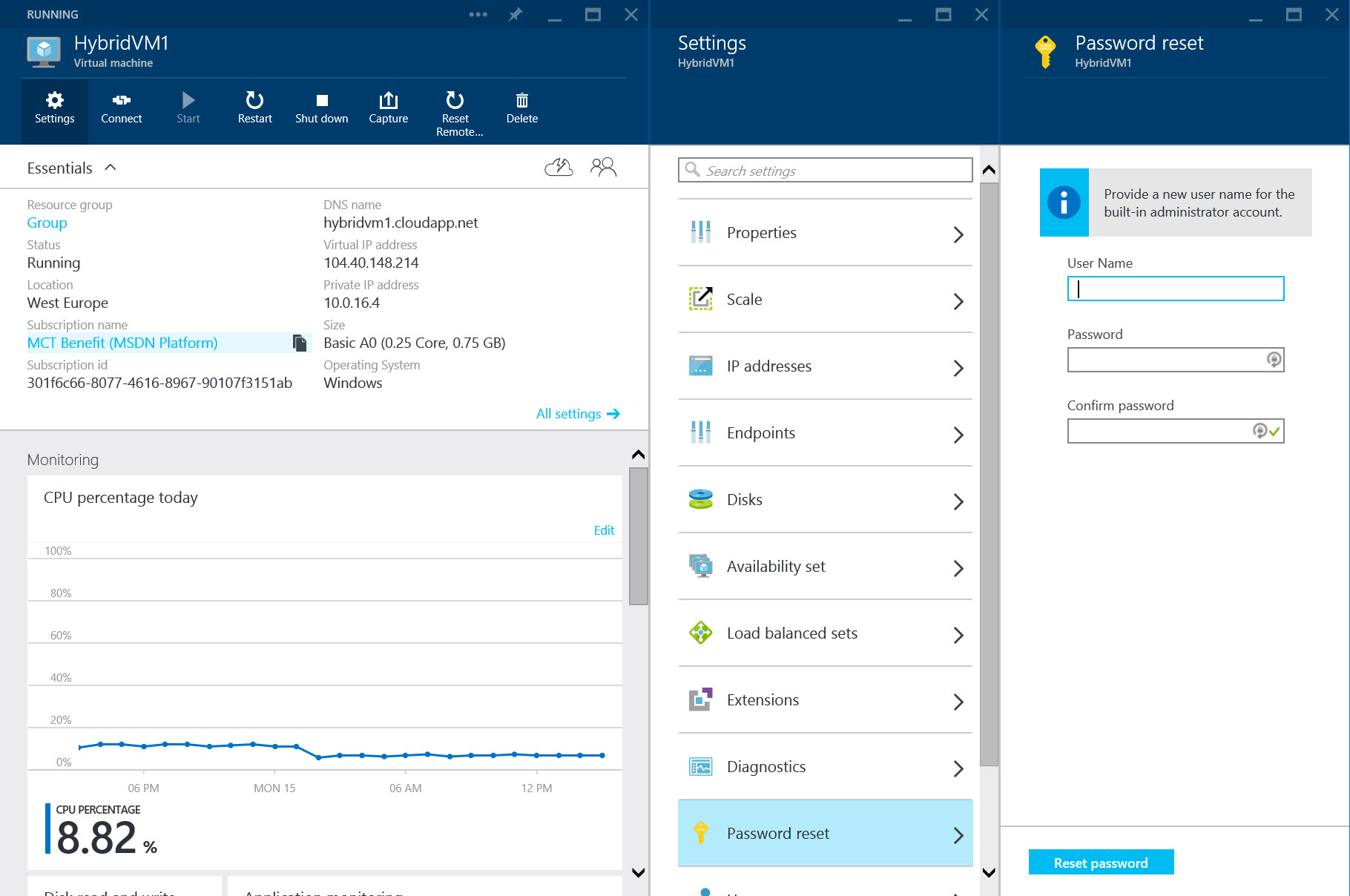 Reset your vm-administrative user in Azure   AzureMan com