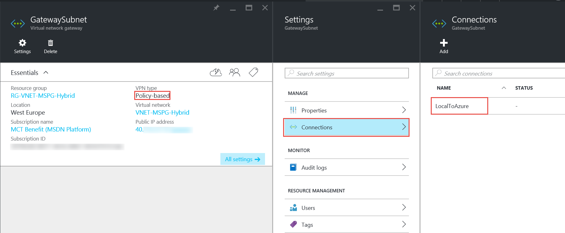Creating a Site-to-Site VPN in a V2 network | AzureMan com